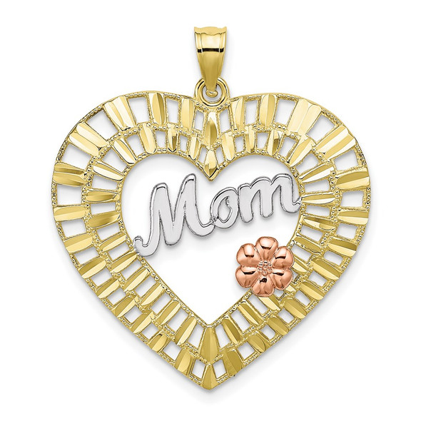 10k Yellow and Rose Gold with Rhodium and Diamond-cut Mom Heart Pendant
