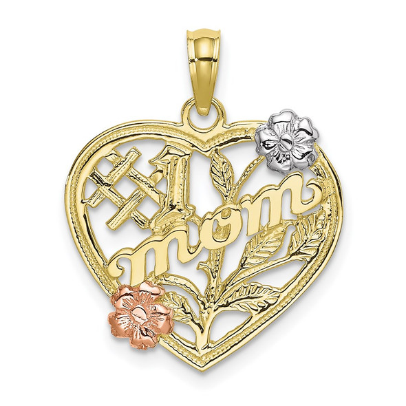 10k Yellow and Rose Gold with Rhodium #1 MOM Heart w/ Flower Pendant