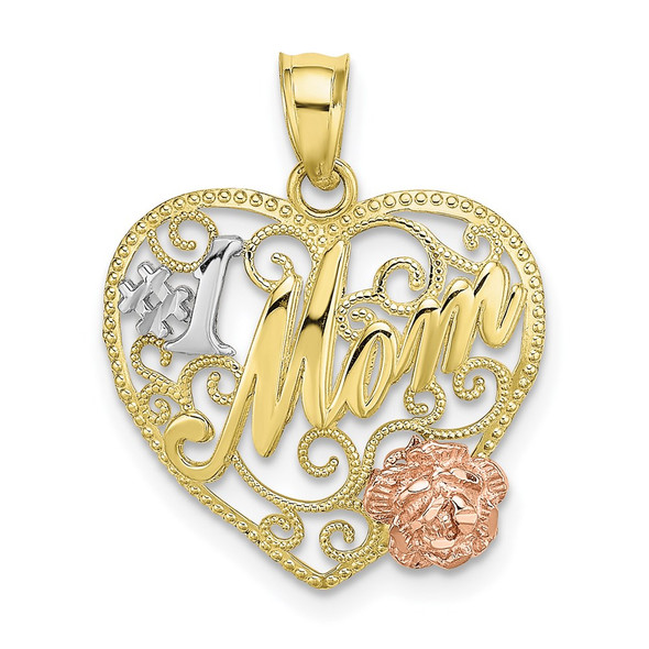 10k Yellow and Rose Gold with Rhodium #1 MOM Heart Pendant