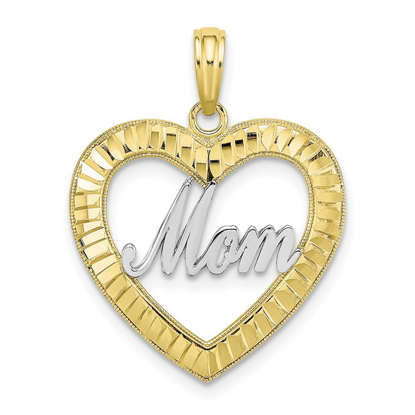 10k Yellow Gold with Rhodium-Plating and Diamond-cut Heart Frame Mom Pendant