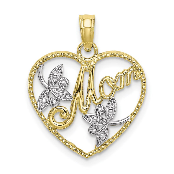 10k Yellow Gold with Rhodium-Plating and Polished Beaded Heart w/ Mom Pendant