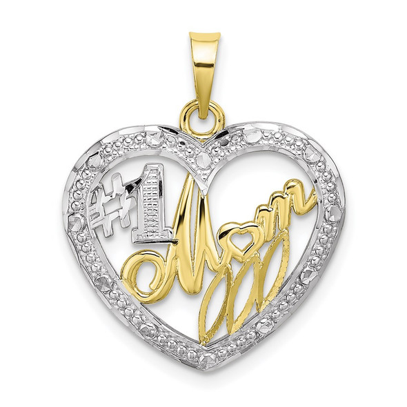 10k Yellow Gold With Rhodium-Plating Bead Trim #1 Mom In Heart Pendant