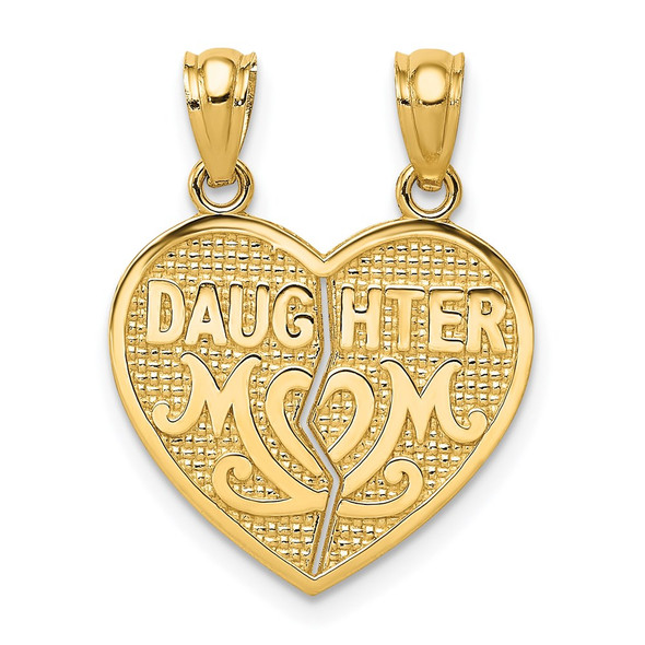 14k Yellow Gold Satin and Polished Daughter Mom Break Apart Heart Pendant