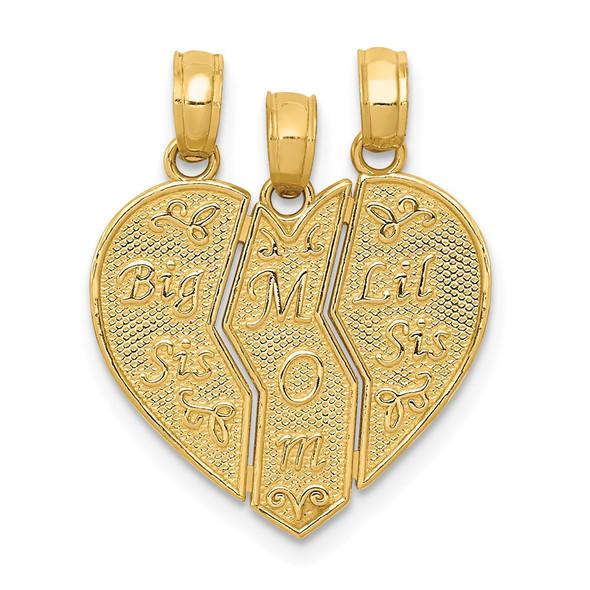 14k Yellow Gold Break-apart BIG SIS-MOM-LIL SIS Pendant