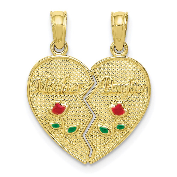 10k Yellow Gold Enameled Mother - Daughter Pendant