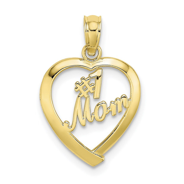 10k Yellow Gold #1 Mom In Heart Pendant