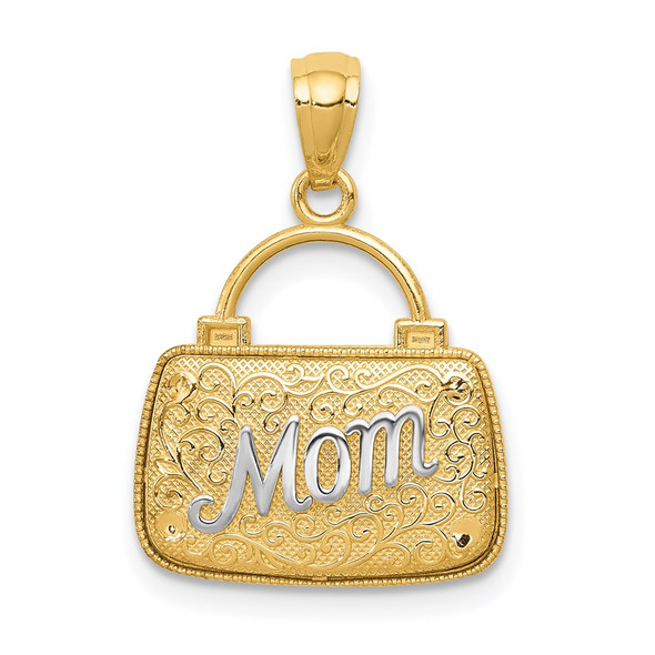14k Yellow Gold and Rhodium Reversible Mom Handbag Pendant