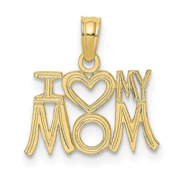 10k Yellow Gold I Heart My Mom Pendant