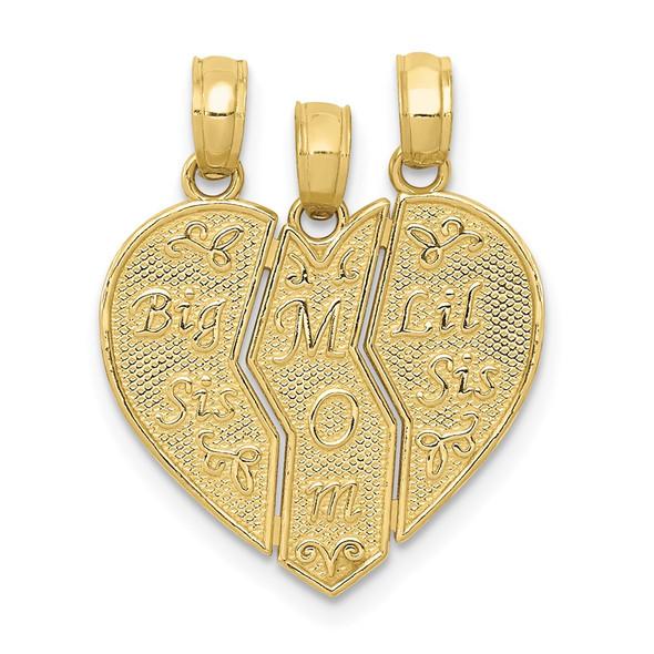 10k Yellow Gold Break-Apart Big Sis, Mom, Lil Sis Pendant