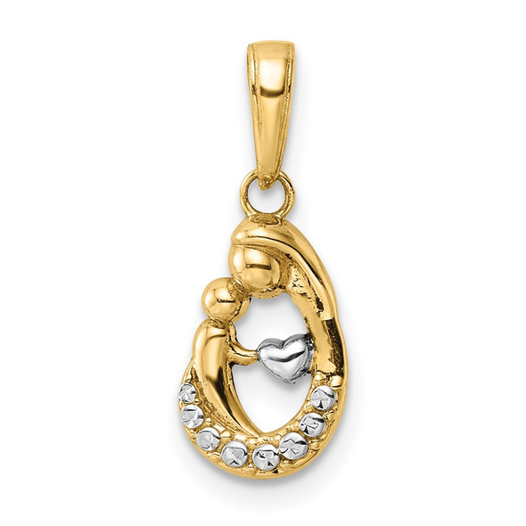 14k Yellow Gold & White Rhodium Diamond-cut Mother & Baby Teardrop Pendant