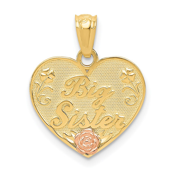 14k Yellow and Rose Gold Big Sister Heart Pendant