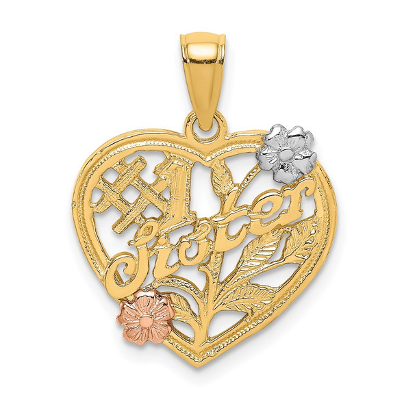 14k Yellow and Rose Gold with Rhodium #1 Sister On Heart w/ Flowers Pendant