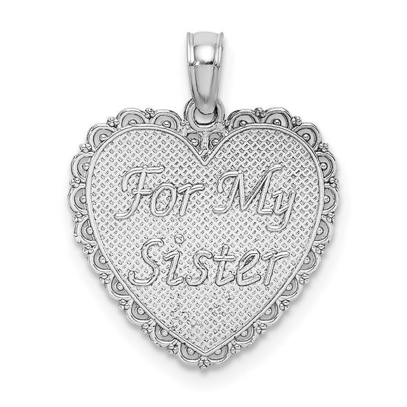 14k White Gold Reversible FOR MY SISTER-FRIENDS FOREVER Pendant