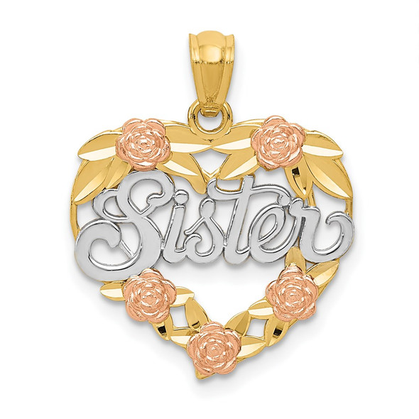 14k Two-Tone Gold And Rhodium Sister Heart Pendant