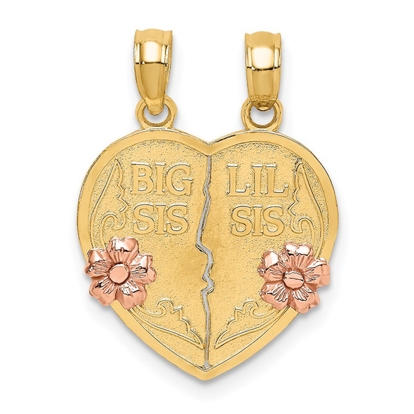 14k Two-Tone Gold Big Sis-Lil Breakable Heart Pendant