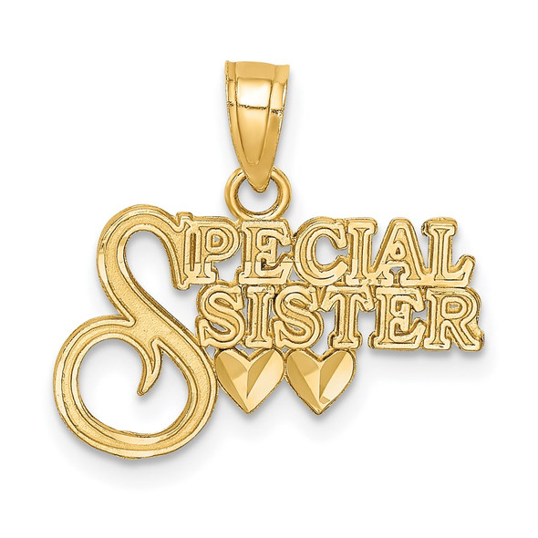 14k Yellow Gold Diamond-Cut Special Sister Pendant