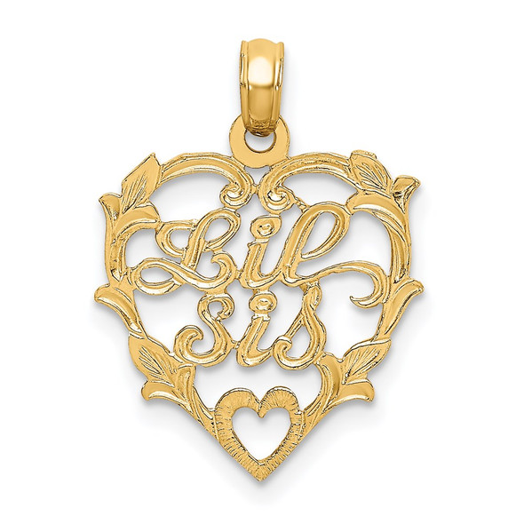14k Yellow Gold Lil Sis In Heart Pendant