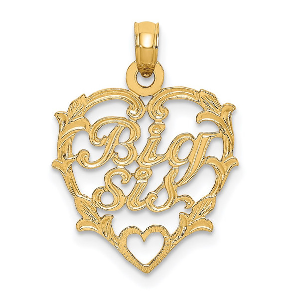 14k Yellow Gold Big Sis In Heart Pendant