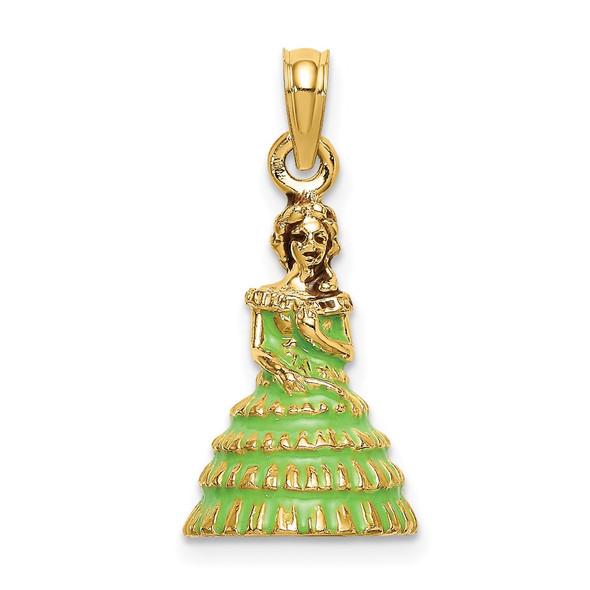 14k Yellow Gold 3-D w/Green Dress Enamel Charleston Southern Belle Pendant