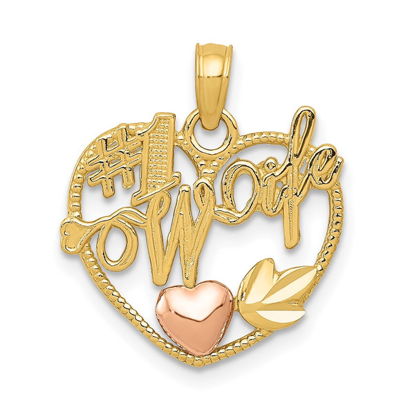 14k Yellow and Rose Gold #1 Wife Heart In Heart Pendant