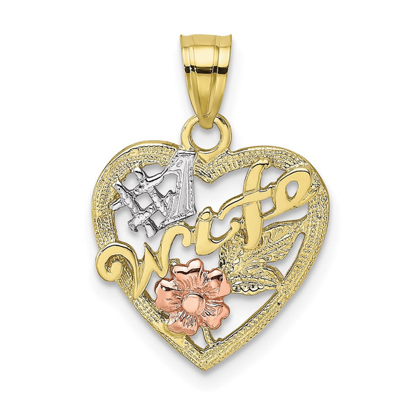 10k Yellow and Rose Gold with White Rhodium #1 WIFE In Heart w/ Flower Pendant