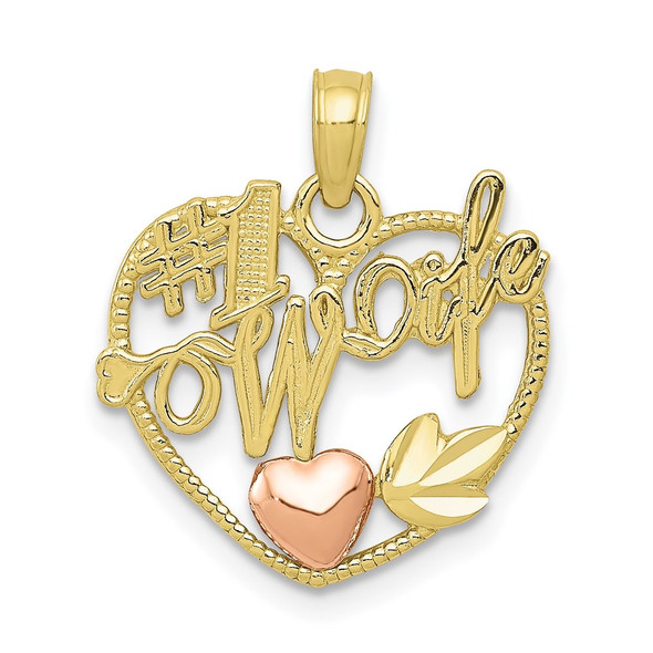 10k Yellow and Rose Gold #1 Wife in Heart with Heart Pendant