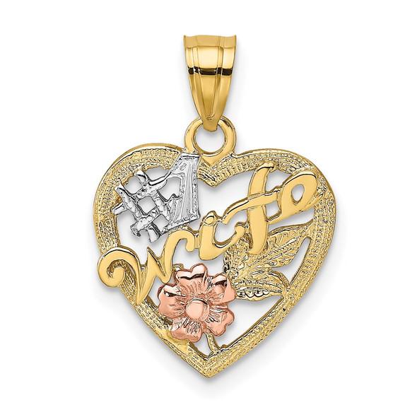 14k Two-tone Gold w/Rhodium #1 Wife In Heart w/Flower Pendant