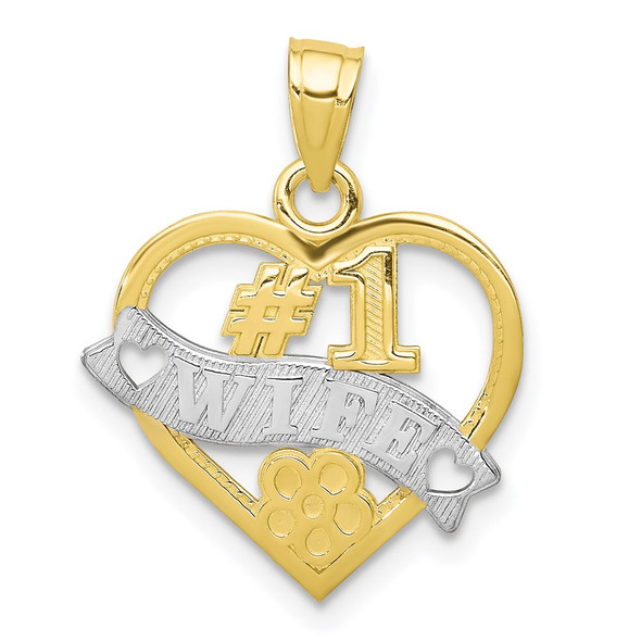 10k Yellow Gold With Rhodium-Plating #1 Wife Heart Pendant