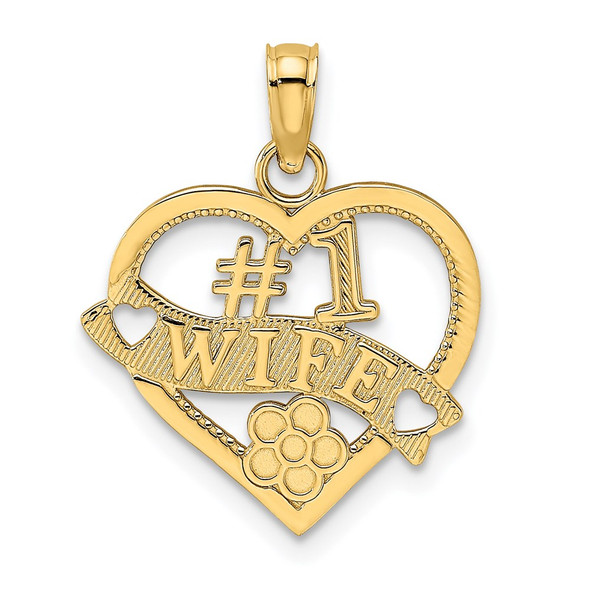14k Yellow Gold #1 Wife Heart Pendant