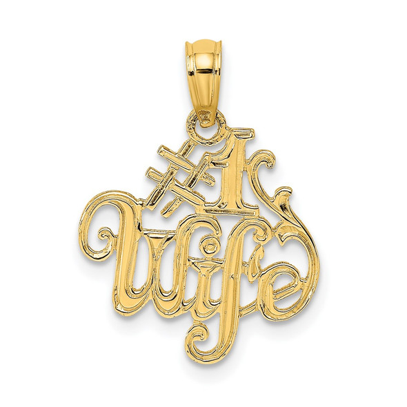 14k Yellow Gold #1 Wife Pendant D3969