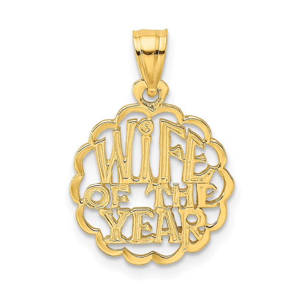 14k Yellow Gold Wife Of The Year Pendant