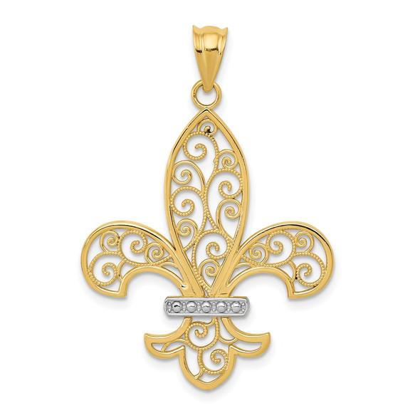 Mens 14k Yellow Gold And Rhodium Filigree Fleur De Lis Pendant
