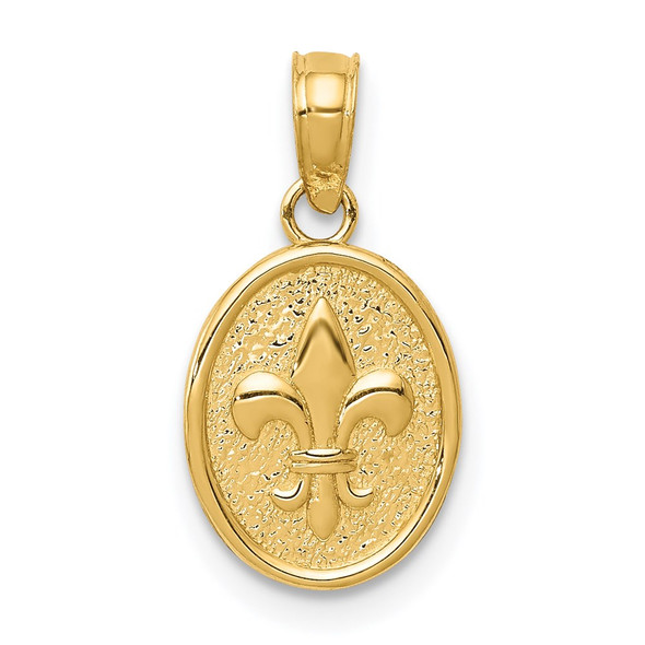 14k Yellow Gold Polished Small Fleur De Lis In Oval Pendant