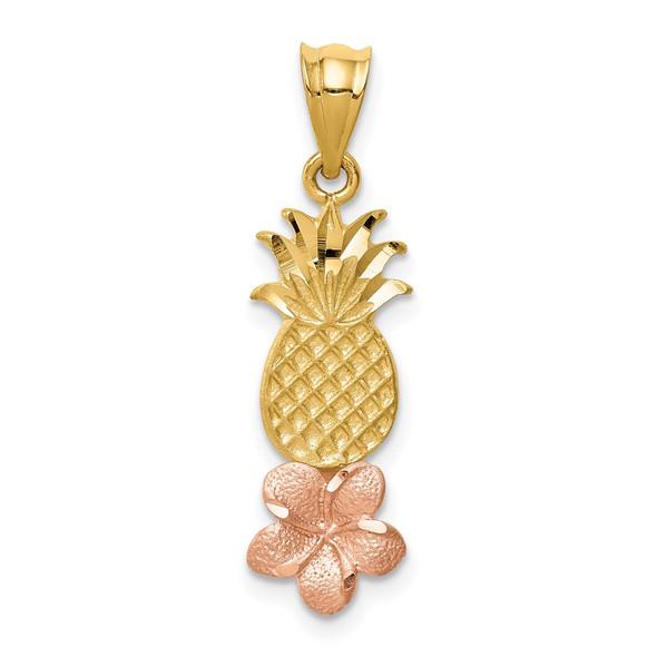 14k Yellow and Rose Gold Pineapple w/ Plumeria Flower Pendant