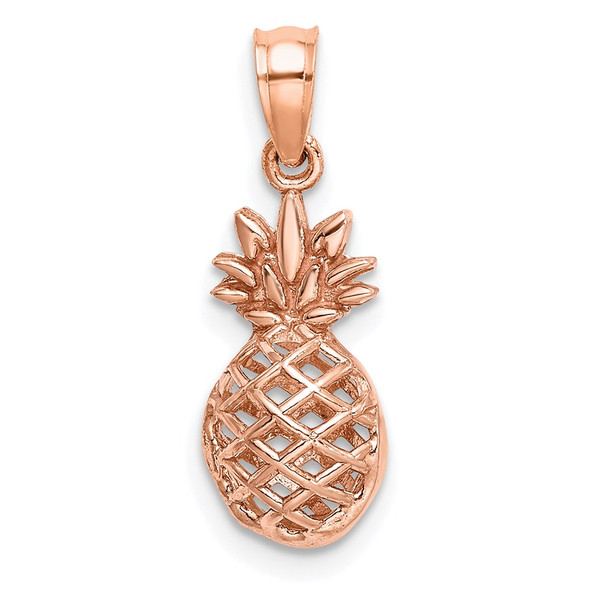 14k Rose Gold Polished 3D Pineapple Pendant
