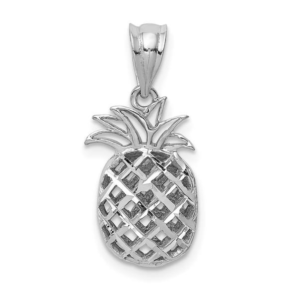 14k White Gold Polished and Diamond-cut 3D Pineapple Pendant