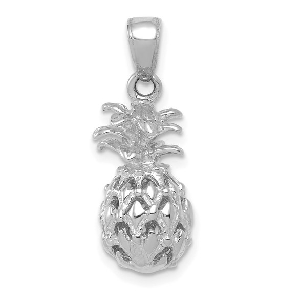 14k White Gold 3D Cut-out Pineapple Pendant