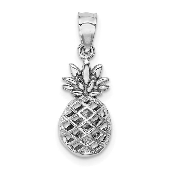14K White Polished 3D Pineapple Pendant
