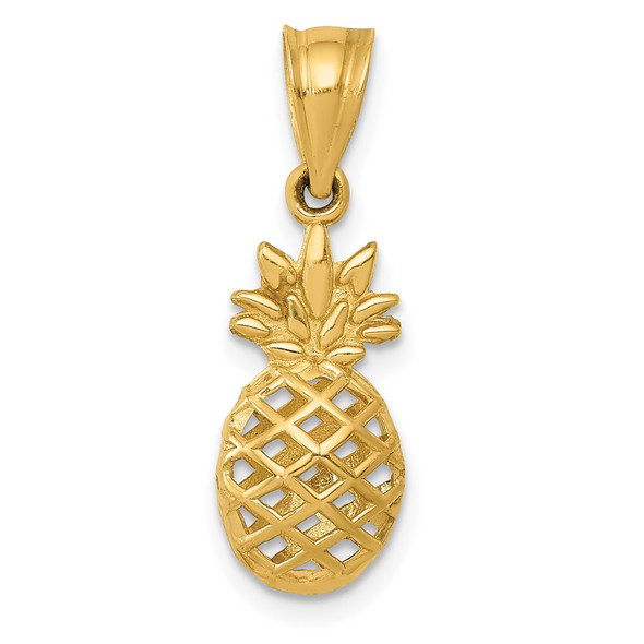 14k Yellow Gold Polished 3D Pineapple Pendant
