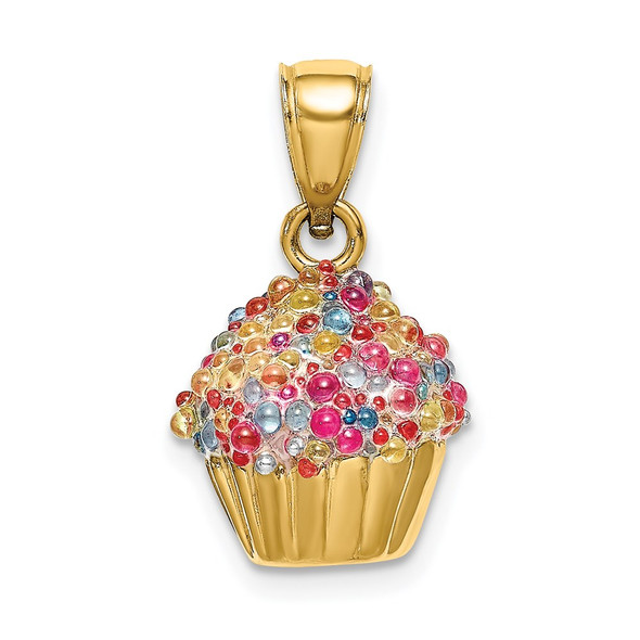 14k Yellow Gold 3-D Cupcake Pendant w/Colored Bead Icing