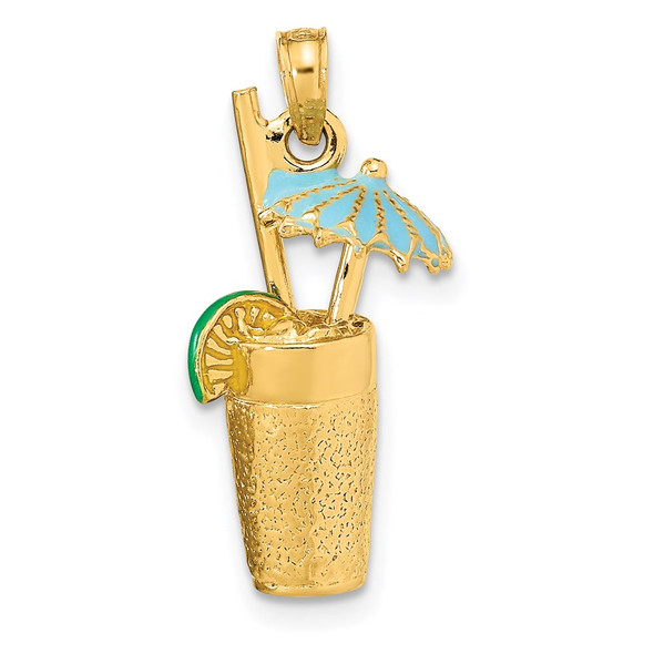 14k Yellow Gold 3-D Cocktail Drink w/ Enamel Umbrella and Lime Pendant
