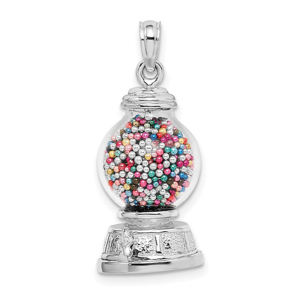 14k White Gold 3-D Moveable Gumball Machine Glass Pendant