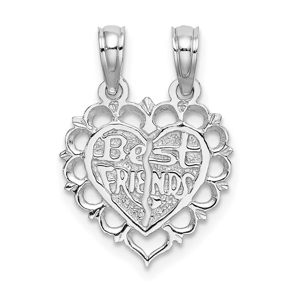 14k White Gold BEST FRIEND 2 Piece Break-Apart Heart Pendant