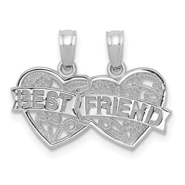 14k White Gold Best Friend Breakable Double Hearts Pendant