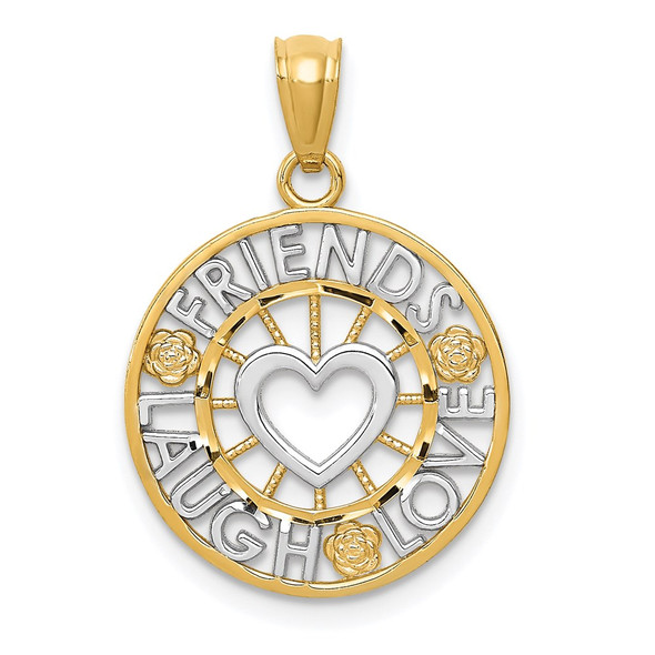 14k Yellow Gold And Rhodium Friends, Laugh, Love Circle Pendant