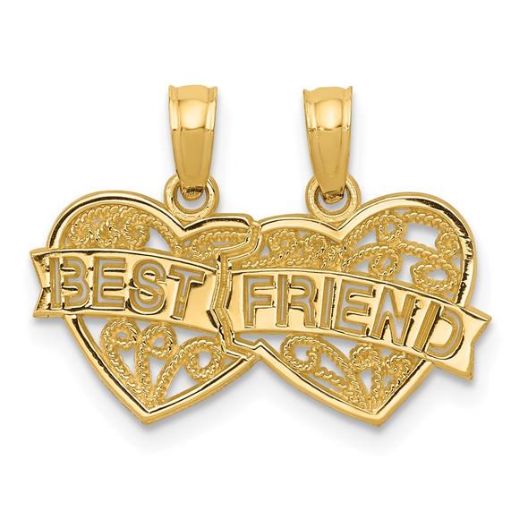 14k Yellow Gold Best Friend Breakable Double Hearts Pendant