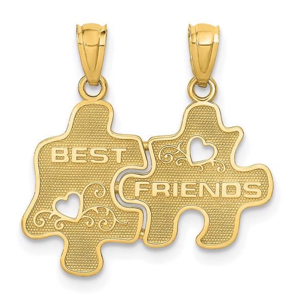 14k Yellow Gold Best Friends Puzzle Pieces Break-Apart Pendant C3026