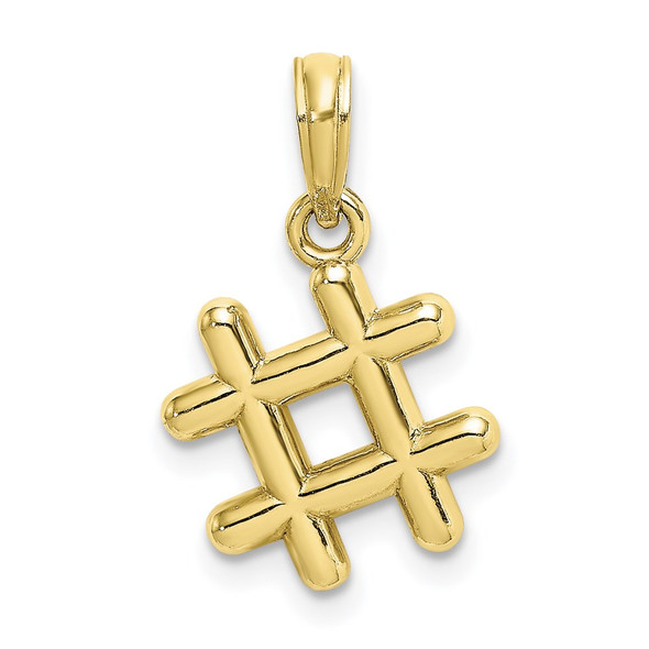 10k Yellow Gold 3-D Hashtag Pendant
