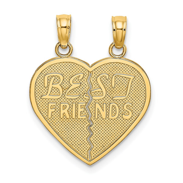 14k Yellow Gold Best Friends Break-A-Part Heart Pendant