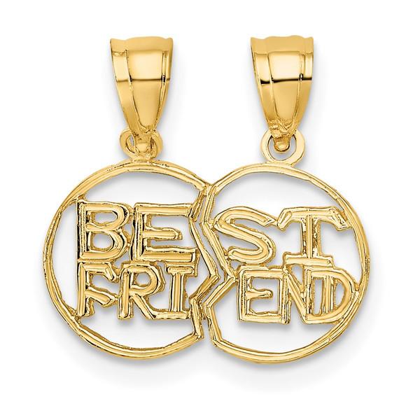 10k Yellow Gold Break Apart Cut-Out Best Friend Pendant